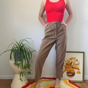 Vintage 80s 90s Brown Tan Suede Trouser Pants